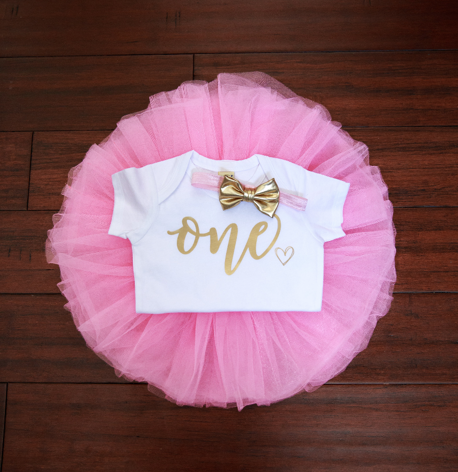 c002353ee LIVE SALE First Birthday Outfit Girl, Pink Gold Tutu Girl First Birthday  Outfit, Birthday