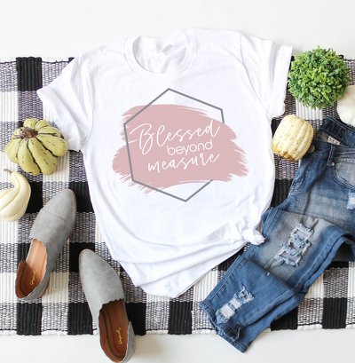 Blessed Beyond Measure Women's Graphic Tee, T Shirt, thewhiteinvite, The White Invite - The White Invite