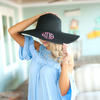 Monogrammed Beach Floppy Hat in black