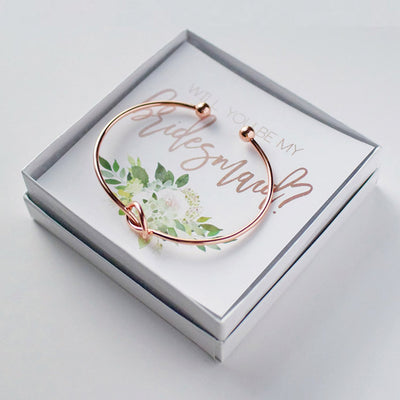 Will You Be My Bridesmaid Gift Bracelet in rose gold with succulent design in a box perfect for Bridesmaid Proposal