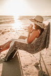 Lady wearing Personalized Mrs. Beach Floppy Hat in Natural