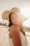 Wearing Bride to Be Beach Hat Floppy Hat in Natural Color