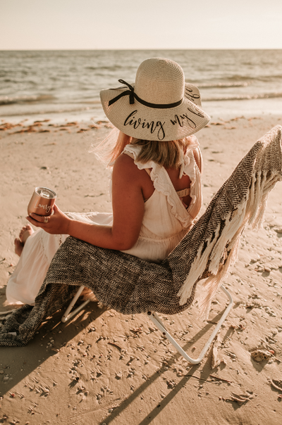 Personalized Living My Best Life (or Your Choice of Wording) Beach Floppy Hat at the beach