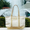 Metallic Gold Medium Canvas Monogrammed Boat Tote Bag w Zipper, Tote Bag, The White Invite, The White Invite - The White Invite