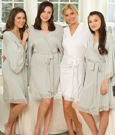 Jersey Lace Bridesmaid and Bridal Robes perfect for bachelorette party front