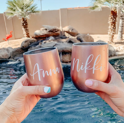 rose gold SWIG personalized wine tumbler with lid and straw bridesmaid gift