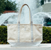 Metallic Gold Medium Canvas Monogrammed Boat Tote Bag with Zipper in natural & silver variant