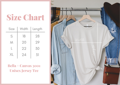 Size chart for Patriotic 4th of July Shirt