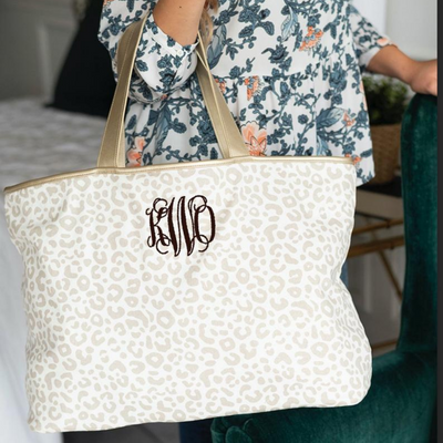 photo of Leopard Embroidered Monogrammed Tote Bag