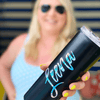 Lady holding Personalized Skinny Tumbler in Matte Black perfect for bachelorette gift