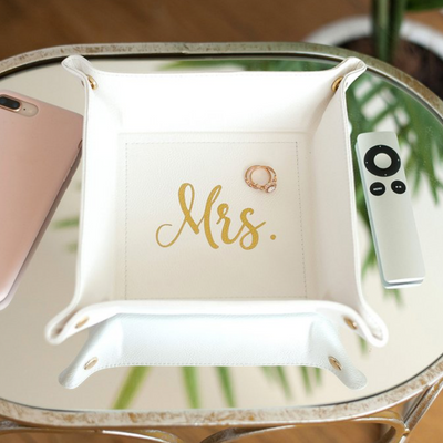 Creme Mrs. Trinket Tray perfect for bride gift top