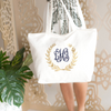 Personalized Gold Foil Wreath Tote Bag front