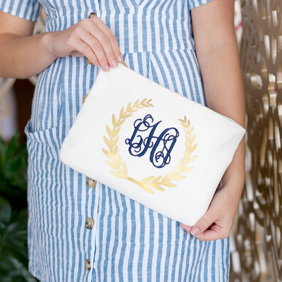 Personalized Gold Foil Wreath Zip Pouch front