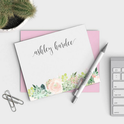 Personalized Floral Stationery Set