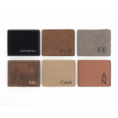 Selection of Engraved Men's Wallet perfect for Groomsmen Gift