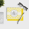 Pattern Personalized Stationery Monogrammed Notecards in yellow color pattern