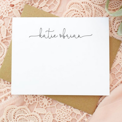 Notecard Set Upper Middle Calligraphy Personalized Stationery