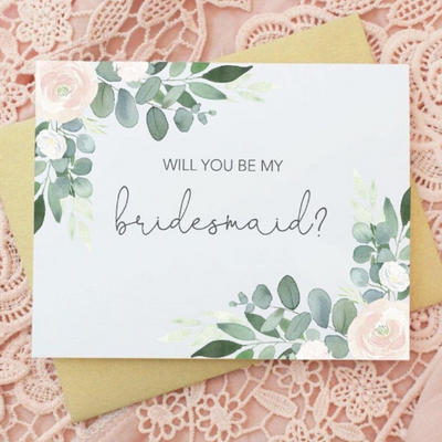 Will you be my Bridesmaid in Floral Wedding Party Card