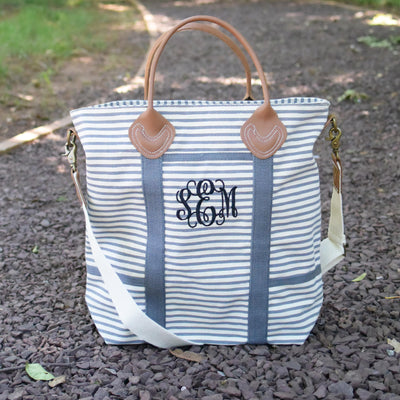 Striped Tote Monogrammed Tote Bag with Leather Handles, Tote Bag, The White Invite, The White Invite - The White Invite