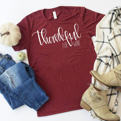 Thankful Shirt - Thankful For Wine Shirt - Wine Shirt - Funny Wine Shirt - Thanksgiving Shirt - Fall Graphic Tee - Fall Shirts for Women, Tumbler, thewhiteinvite, The White Invite - The White Invite