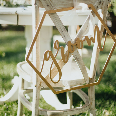 Hexagon Bride and Groom Chair signs for weddings personalized