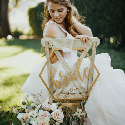 Hexagon Bride and Groom Chair signs for weddings