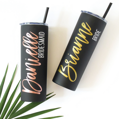 Personalized Skinny Tumbler in Matte Black perfect for bachelorette gift