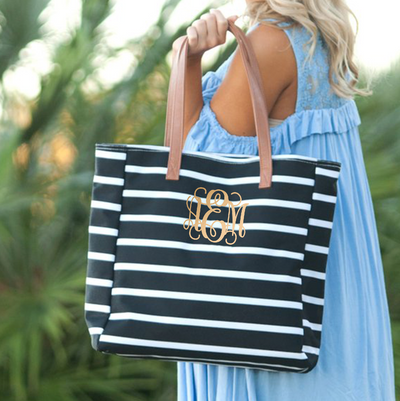 Embroidered Personalized Tote Bag in black stripes