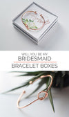 Will You Be My Bridesmaid Gift Bracelet in rose gold with succulent design in a box perfect for Bridesmaid Proposal collage