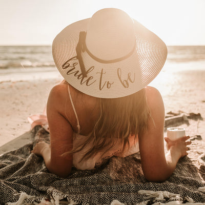 Bride to Be Beach Hat Floppy Hat in Natural Color for Brides