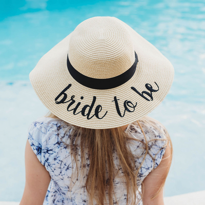 Bride to Be Embroidered Floppy Hat, Beach Floppy Hats, The White Invite, The White Invite - The White Invite