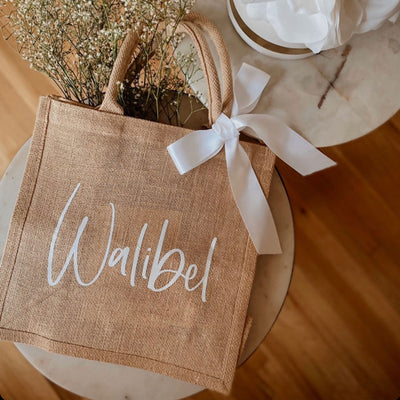 Bridesmaid Tote Bag Burlap with Ribbon