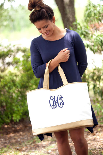 Embroidered Tote Bag with Gold Trim in Creme