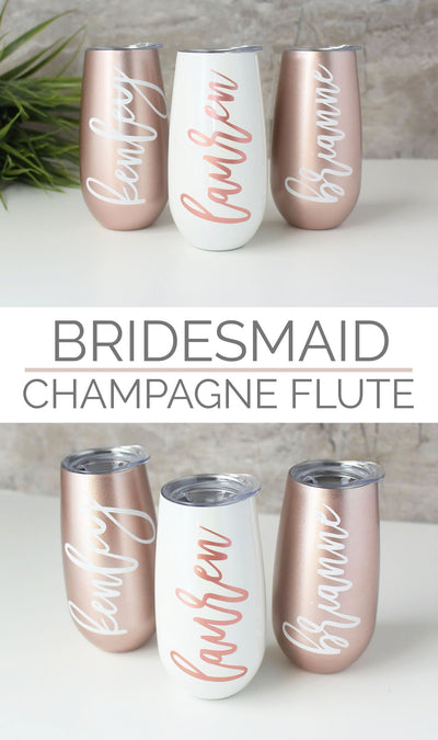 Champagne Flute Wine Tumbler in Rose Gold and Pearl perfect for bridesmaid gifts bachelorette party gifts bridal shower collage