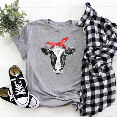 COW T-SHIRT & FARMER SHIRT WOMEN'S GRAPHIC TEE, T-Shirt, Printify, The White Invite - The White Invite