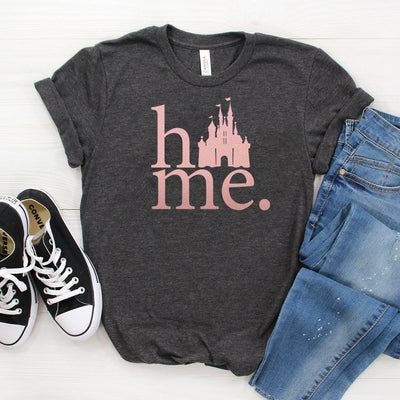 Disney Home Castle T-shirt Women's Graphic Tee in Rose Gold Text