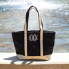 Metallic Gold Medium Canvas Monogrammed Boat Tote Bag with Zipper in black & gold variant