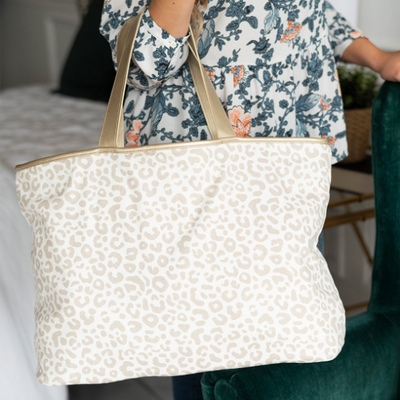 Leopard Embroidered Monogrammed Tote Bag  for mom