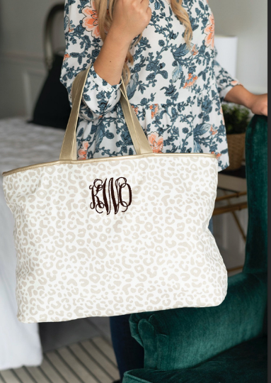 best gift for mom is a Leopard Embroidered Monogrammed Tote Bag