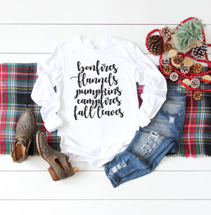 Fall Shirt for Women, Fall Graphic Tee, Long Sleeve, Bonfires Flannels Pumpkins Campfires Fall Leaves Shirt, Made 100% in USA, T Shirt, thewhiteinvite, The White Invite - The White Invite