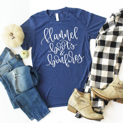 Women's Fall Shirt, Cute Fall Shirts, Flannels Boots and Bonfires, Bella Canvas, Soft T Shirt, Women's Graphic Tee, Handlettered, Tumbler, thewhiteinvite, The White Invite - The White Invite