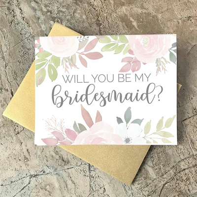 Will You Be My Bridesmaid Floral Wedding Party Card
