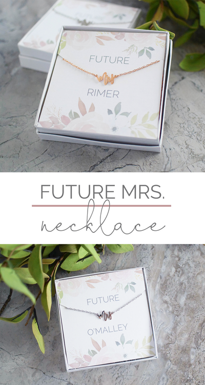 Future Mrs Necklace and Box perfect as bridal gift collage