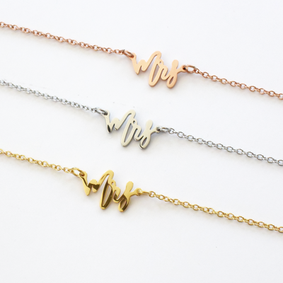 Future Mrs Necklace perfect for bridal shower in gold silver and rose gold