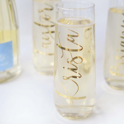 Personalized Stemless Champagne Flutes with Gold Foil perfect for bachelorette party