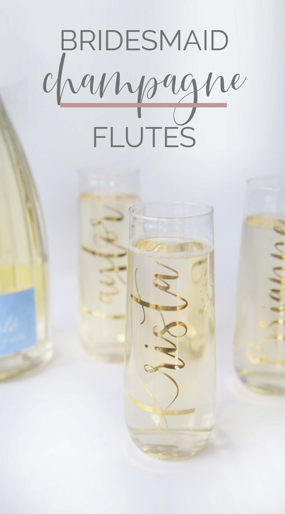 Personalized Stemless Champagne Flutes with Gold Foil perfect for bachelorette party front