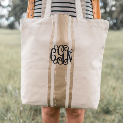 Metallic Personalized Embroidered Gold Tote Bag front