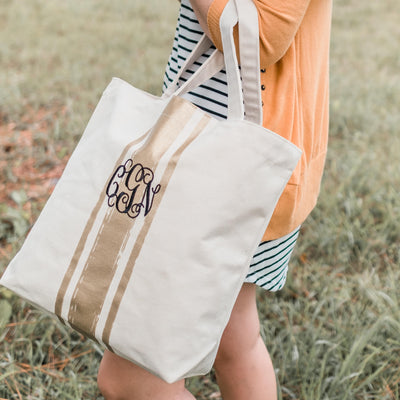 Metallic Personalized Embroidered Gold Tote Bag