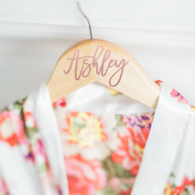 Personalized Bridesmaid Hanger in Rose Gold Text