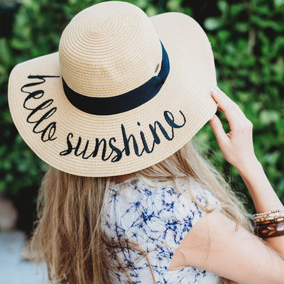 Hello Sunshine Embroidered Beach Floppy Hat perfect for bridesmaid gift